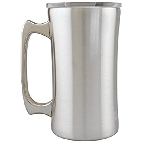 True North Stainless Steel Double Walled Beer Mug With Lid 20 Ounce