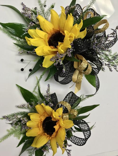 Silk mini sunflower Corsage and Boutonnière combo
