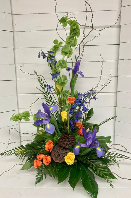 Iris, Roses, and Bells of Ireland Contemporary Piece