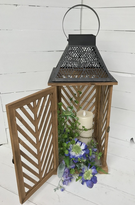 """22"""" Wooden Lattice Lantern with Floral Embellishment and Mirage Candle"""