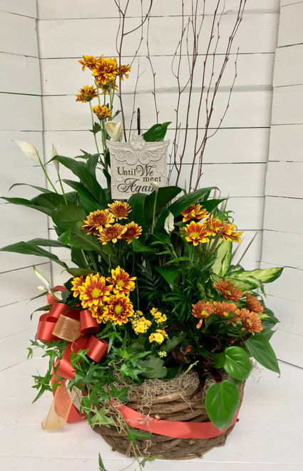 Large Fall Planter Basket with Hanging Plaque