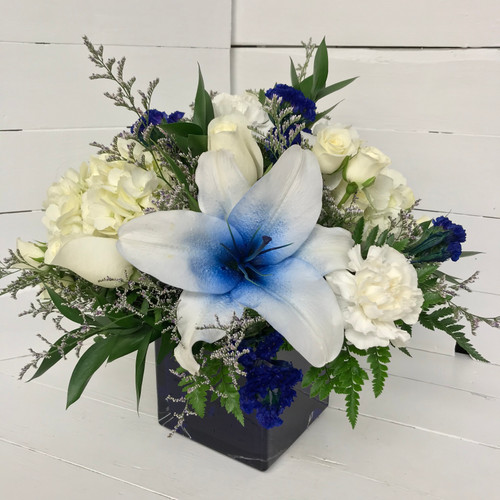 Amazing Blue Lily and Rose Cobalt Cube