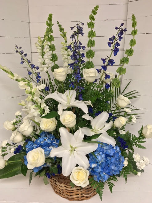 Beautiful Blue Tribute Fresh Basket