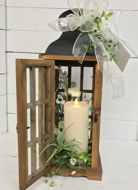 Lovely Airplant and Silk Flower Lantern with Mirage Candle