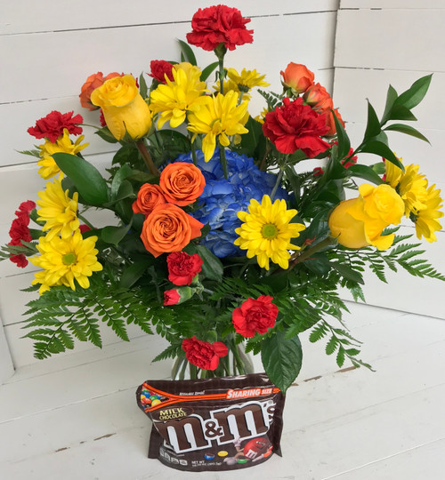 """""""M&M's Lover"""" Fresh Vase Arrangement with 10.7 Ounce bag of candy"""