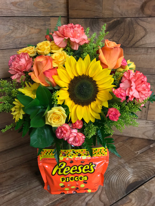 """""""Reese's Pieces Lover"""" Fresh Vase Arrangement with 9.9 Ounce bag of candy"""