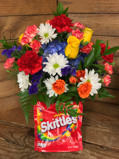 """""""Skittles Lover"""" Fresh Vase Arrangement with 15.6 Ounce bag of candy"""