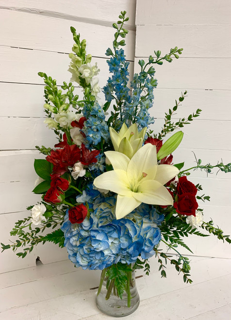 """Patriotic Elegance"" Fresh Vase"