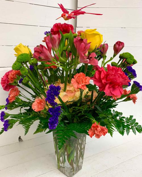 Vivid Hummingbird Fresh Vase Arrangement - Clear Vase