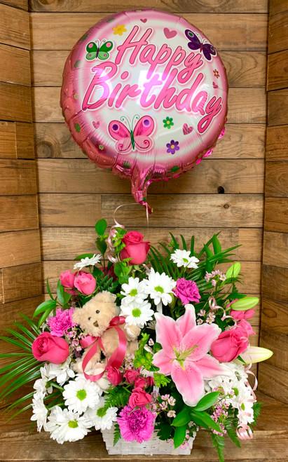Happy Birthday Bear and Balloon Fresh Basket  Arrangement
