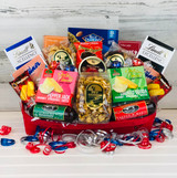 This gift basket is wrapped with a ribbon then boxed in our Sugarbush box and ready for delivery.