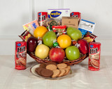 Fruit basket with nuts and cheese, gift for a funeral