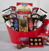 Perfect gift for the  Ohio state buckeyes fan, wine summer sausage cheese and buckeyes.
