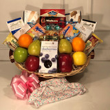A perfect snack gift basket for a new mother.