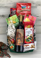 Fireplace feast gift basket with biltmore wine.