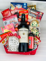 Wine, Nuts and Cheese Gift Basket