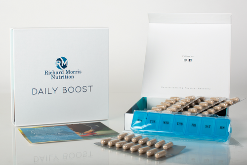 Daily Boost is a hand picked selection of vitamins, minerals and anti-oxidants designed to contribute to;  - Normal energy-yielding metabolism - Normal functioning immune system - Eradicating cancer causing free radicals - Reduction of tiredness and fatigue  Daily Boost is a perfect supplement for people with busy lifestyles.  Are you needing a Daily Boost?  Ingredients:  Maca (Lepidium meyenii) Green coffee bean extract (coffee robusta) L-Arginine hydrochloride Chlorogenic acid (50% of green coffee bean extract) L-Glutathione Caffeine Magnesium Vitamin B1 (Thiamin hydrochloride) Vitamin B12 (Cyanocobalamin)