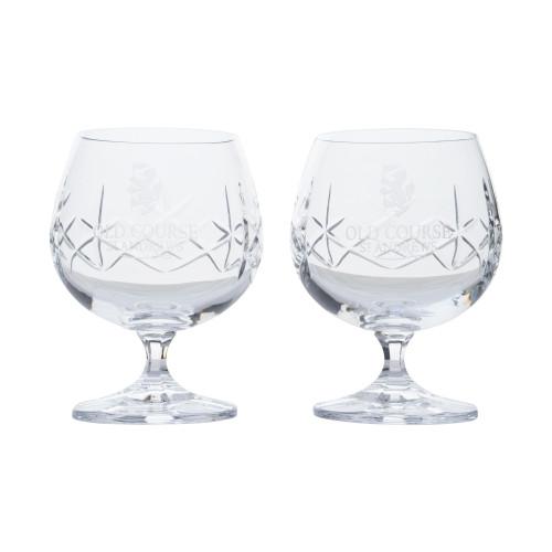 Old Course St Andrews Scotland Burns Crystal Brandy Glasses