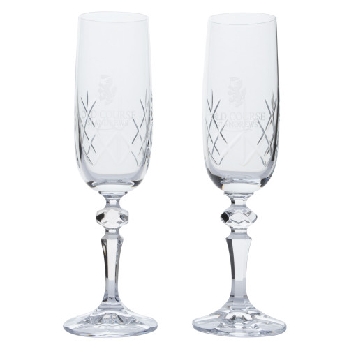 Old Course St Andrews Scotland Burns Crystal Champagne Glasses