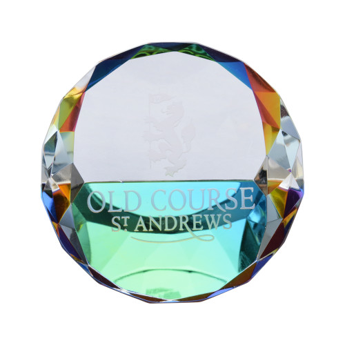 Old Course St Andrews Scotland Burns Crystal Paperweight
