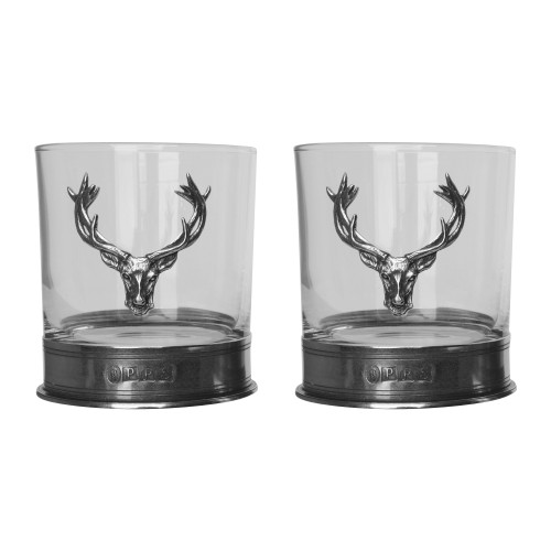 Old Course St Andrews Scotland Pewter Whisky Set Stag Glass