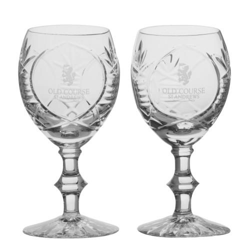 St Andrews Old Course St Andrews Scotland Cut Crystal Wine Goblet Glasses