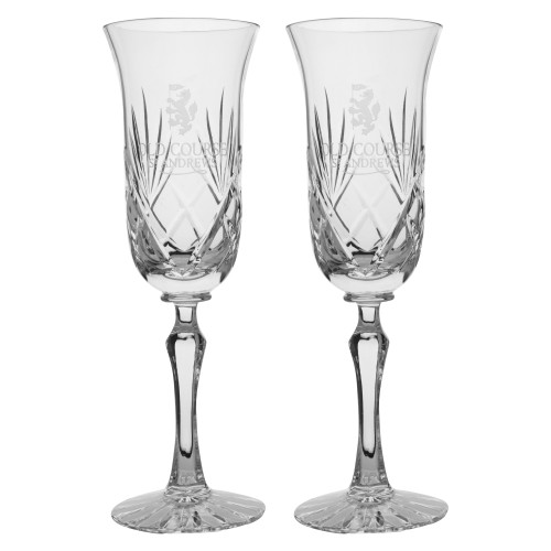 St Andrews Old Course St Andrews Scotland Cut Crystal Champagne Flute Glasses