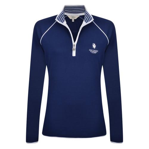 St Andrews Old Course St Andrews Scotland Clover Ladies cotton zip sweater Navy