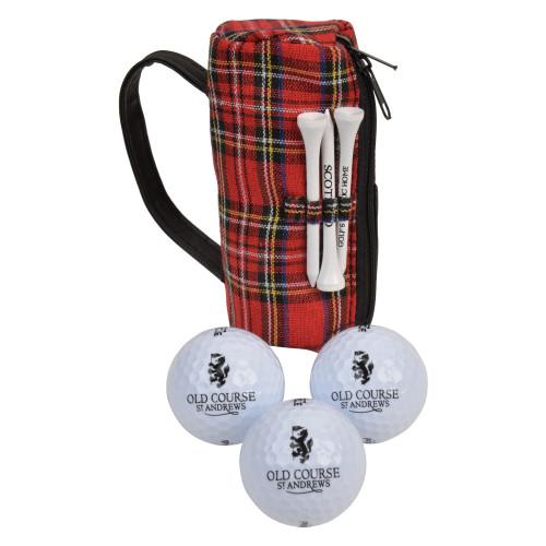 Old Course St Andrews Golf Tartan 3 three ball holder bag tees divot tool