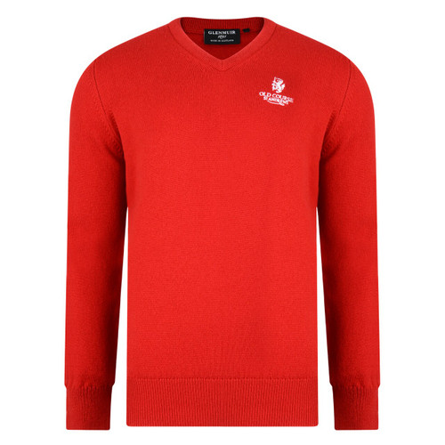 St Andrews Old Course St Andrews Scotland Glenmuir Lambswool v-neck sweater Red