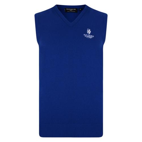 St Andrews Old Course St Andrews Scotland Glenmuir 100% Lambswool v-neck vest Royal Blue