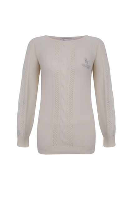St Andrews Old Course St Andrews Scotland Ladies Cashmere Cable Knit Cream