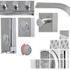 Wall or Corner Mounted Brushed Steel Bathroom Shower Panel with Hydromassage