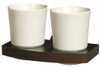 Solid Wood and Zamak Wall Mounted Ceramics Double Toothmug Toothbrush Cup Grip from Toothbrush holders