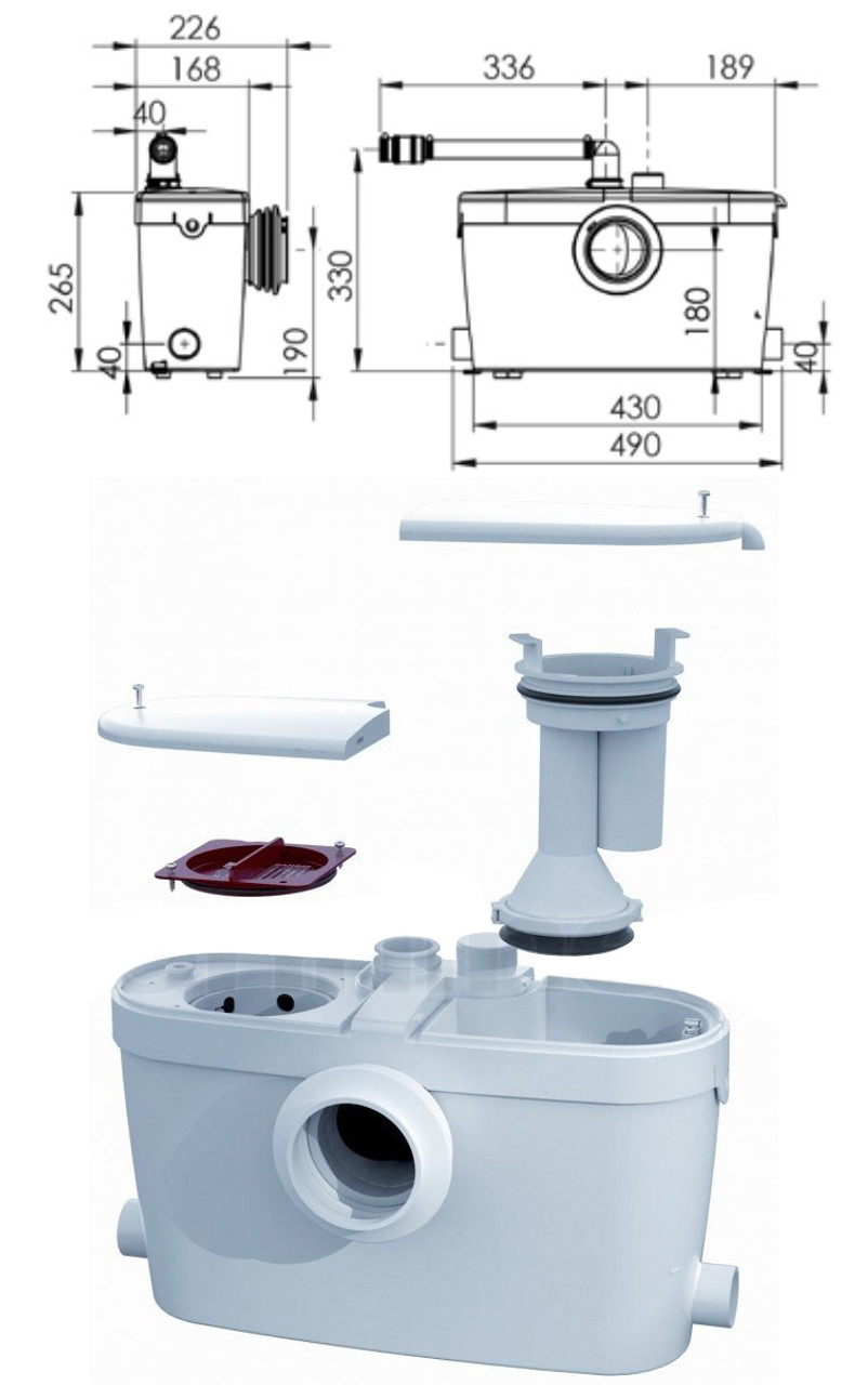 Macerator Pump Shredder Chopper for Bathroom Sewage with Toilet WC  Connection