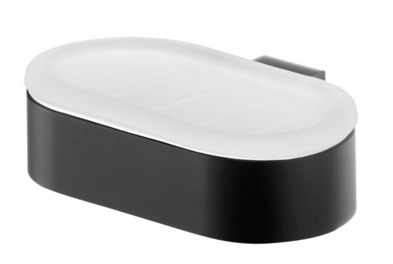 Tempered Glass Soap Dish Plate Wall Mounted Bathroom Black