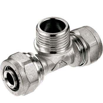 PEX-AL-PEX 16mm x 1/2 Male BSP x 16mm Compression Fittings Tee Connector from PEX fittings