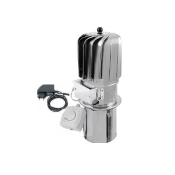 150mm stainless steel turbowent rotating spinning chimney cowl electric motor from Hybrid chimney cowls