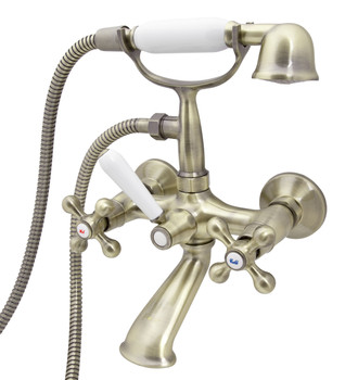 Retro Elegant Wall Mounted Antique Brass Bathroom Tap With Shower Loge Luxor 4 from Bath taps