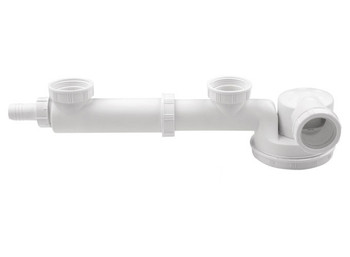 Double Space Saving Kitchen Sink Drain Waste Trap 1/2 x 40mm Dish Washer Input from Drain waste traps