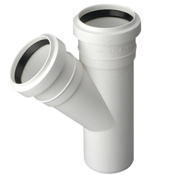 Sewage Installation Tee Connector Joint 40/40 mm Pipe Diameter 67 deg Angle from Waste pipe and fittings