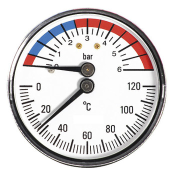 63mm 0-6bar 0-120C Thermo Pressure Gauge 1/2 BSP Rear Entry Manometer from Pressure gauges;HeatingGauges and MetersTemperature gauges