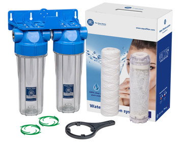 Double 10 Inline Filter Housing Set Water Scale Reduction 3/4 BSP Thread from Water filters