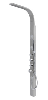 Wall or Corner Mounted Brushed Steel Bathroom Shower Panel with Hydromassage from Shower tower panels