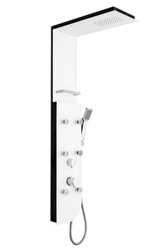 White/Black Wallmounted Shower Panel With Hydromassage Top + Hand Single Jet from Shower tower panels