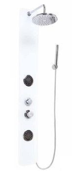 Tempered Glass Shower Panel Column with Regulated Main Shower + Nozzles from Shower tower panels