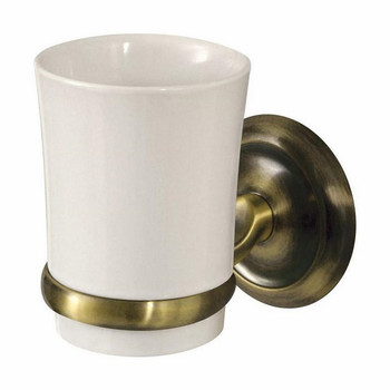 Retro Bathroom Antique Brass Wall Mounted Ceramics Toothmug Toothbrush Cup Grip from Toothbrush holders