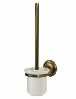 Retro Bathroom Antique Brass Wall Mounted Ceramics Cup + Toilet Cleaning Brush from Toilet brushes