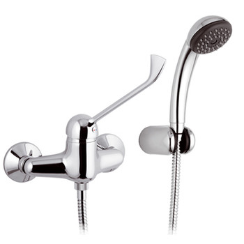 Long Lever Chromed Wall Mounted Shower Mixer Tap Disabled Mobility Easy Use from Disability Taps