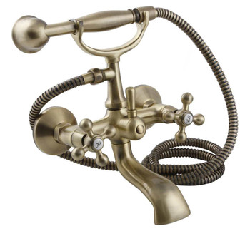 Elegant Antique Brass Bathroom Bath Tap with Ancient Retro Heads + Shower Handle from Bath taps